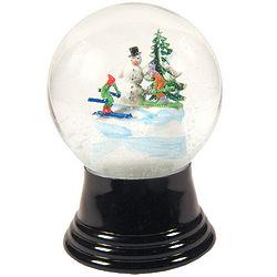 Snowman with Skiers Snow Globe
