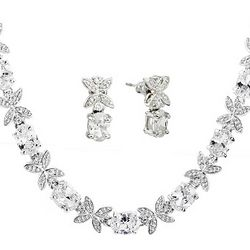 Elegant Cubic Zirconia Flower Necklace and Earrings