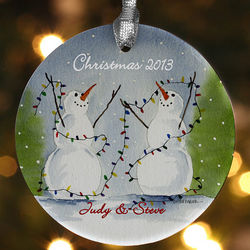 Personalized Snow Couple Porcelain Christmas Ornament