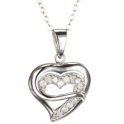 Heart within a Heart Diamond Necklace in Sterling Silver