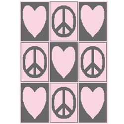 Tic Tac Toe Hearts and Peace Signs Stroller Blanket