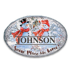 Snowman Holiday Outdoor Welcome Sign with Personalized Name