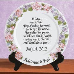 Personalized Platinum Rim Wedding Plate