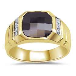 Faceted Onyx & Diamond Men's Ring