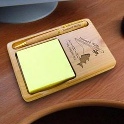 Personalized Fishing Wooden Notepad & Pen Holder