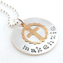 Gold Cross Personalized Hand Stamped Necklace