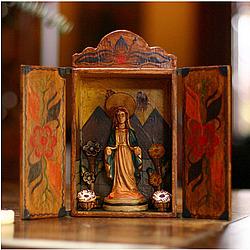 'Virgin Mary' Painted Wood Retablo