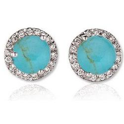 14K White Gold Round Turquoise Diamond Stud Earrings