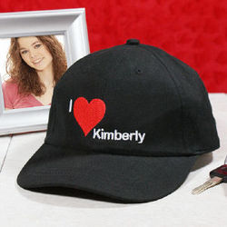 Embroidered I Love You Black Hat