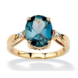 18k Gold Over Sterling London Blue Topaz and Diamond Accent Ring