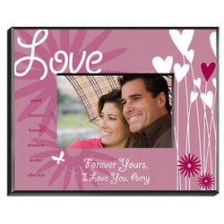 Personalized Love Hearts and Flowers Picture Frame