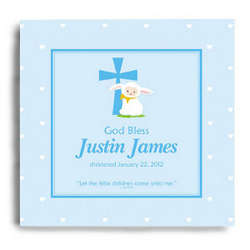 Personalized God Bless Christening Wall Canvas