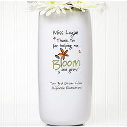 Personalized Bloom and Grow Teacher Vase