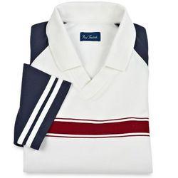Contrast Raglan Sleeves V-Neck Polo