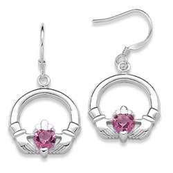 Sterling Silver October Birthstone Claddagh Earrings