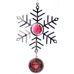 Personalized Red Crystal and Silver USMC Snowflake Ornament