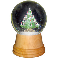 Christmas Tree Snow Globe with Wood Base