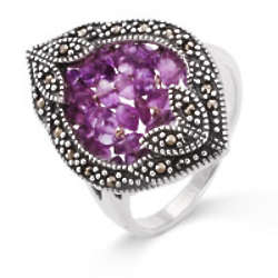 Vintage Amethyst Beaded Marcasite Ring