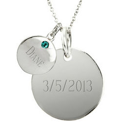 Double Round Tag Silver Birthstone Necklace