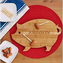 Personalized Pig Shape Cutting Board