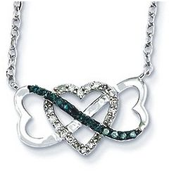 Intertwined White and Blue Diamond Heart Infinity Necklace