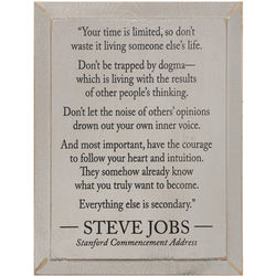 Steve Jobs Stanford Commencement Address Wall Plaque