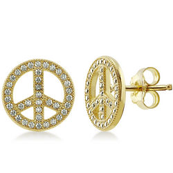 Yellow Gold Vermeil Cubic Zirconia Peace Sign Stud Earrings