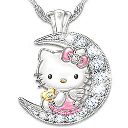 Hello Kitty Crescent Moon Engraved Crystal Pendant
