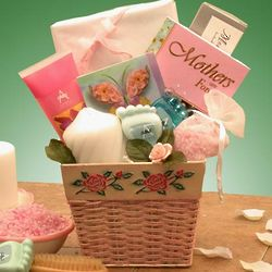 A Mother's Love is Forever Rose Painted Gift Basket