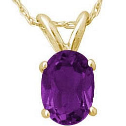 Oval Amethyst Pendant in 14k Yellow Gold