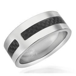 Carbon Fiber & Stainless Steel Band Ring