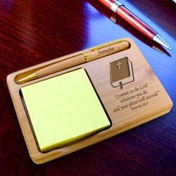 Personalized Bible Wooden Notepad & Pen Holder