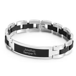 Black and Silver ID Bracelet