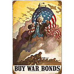Uncle Sam War Bonds Metal Sign