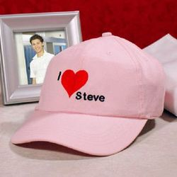 I Love You Embroidered Pink Hat