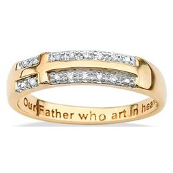 10k Gold Diamond Accent Lord's Prayer Cross Ring
