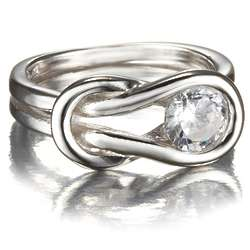 Love Knot Ring in Sterling Silver with Cubic Zirconia