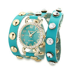 Turquoise Wrap Around Watch with Gold and CZ Studs