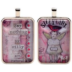Say Nothing Silly Girl Fairies Word Charm Necklace