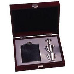 6 Ounce Black Leather Flask and Shot Glasses