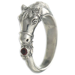 Men's Spirited Horse Garnet Ring