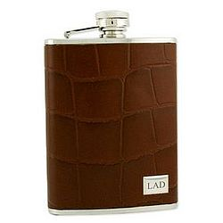 Stainless Steel Brown Croco Leather Flask