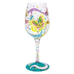 Hand-Painted Social Butterfly Wine Glass