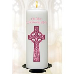 "Pink Cross 6"" Christening Candle"