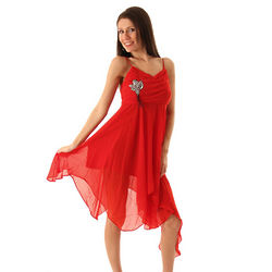 Red Dainty Chiffon Kerchief Cocktail Dress