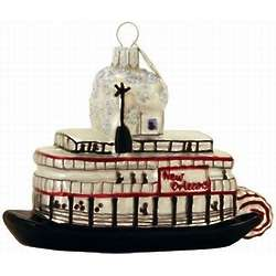 New Orleans Steamboat Blown Glass Christmas Ornament