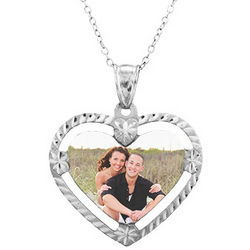 Sterling Silver Framed Heart Color Photo Necklace