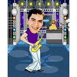 Your Photo in a Saxophone Caricature