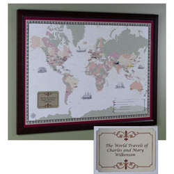 Framed Personalized World Traveler Map Set