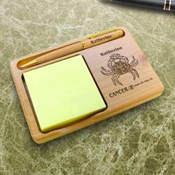 Personalized Zodiac Sign Wooden Notepad & Pen Holder